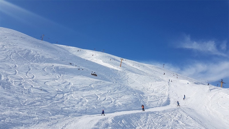 shemshak ski resort at sunny day nice weather a lot of snow near tehran