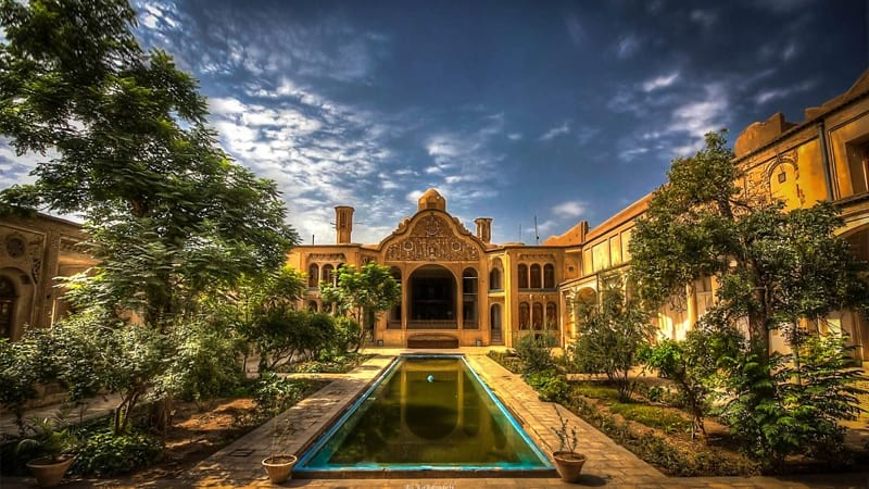 Borujerdi House with astonish architecture in early spring in kashan