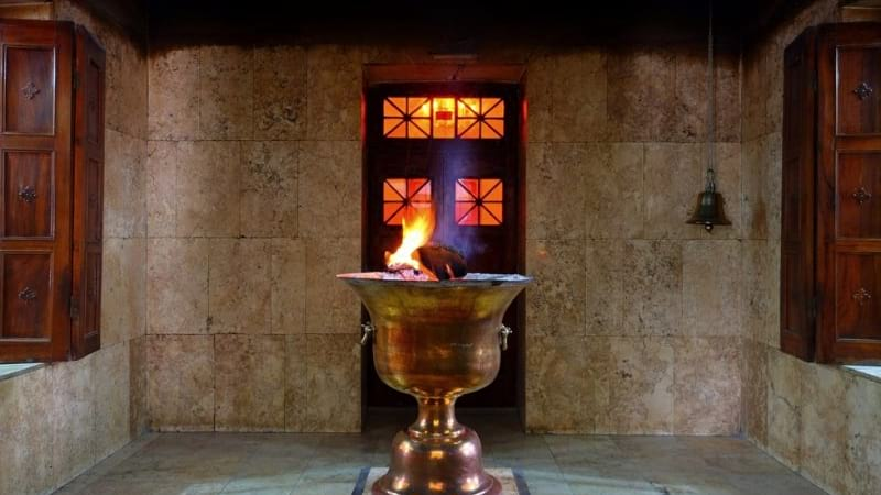 Zoroastrian Fire Temple with ancient elemet and fire in center belonge to zoroastrian in yazd
