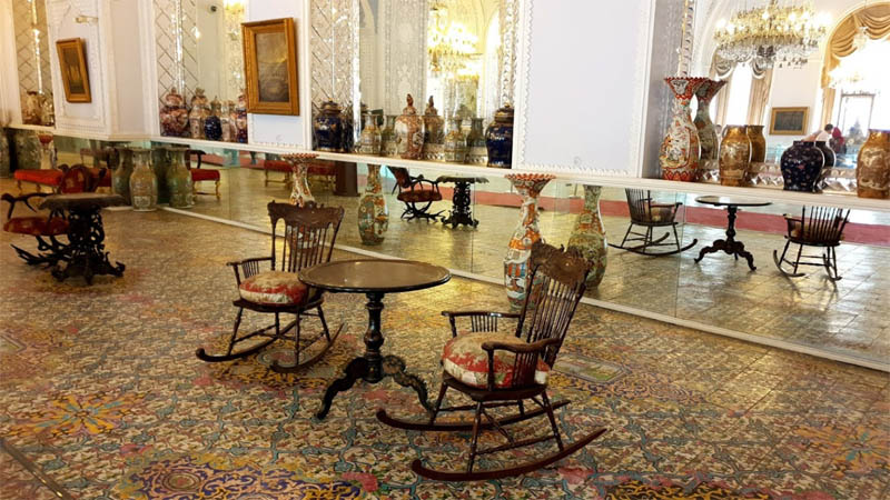Golestan palace inside with beautiful and antique furniture from qajar dynasty in tehran