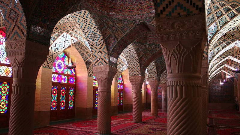 Pink Mosque or Nasir Ol Molk Mosque Colorful Mosque