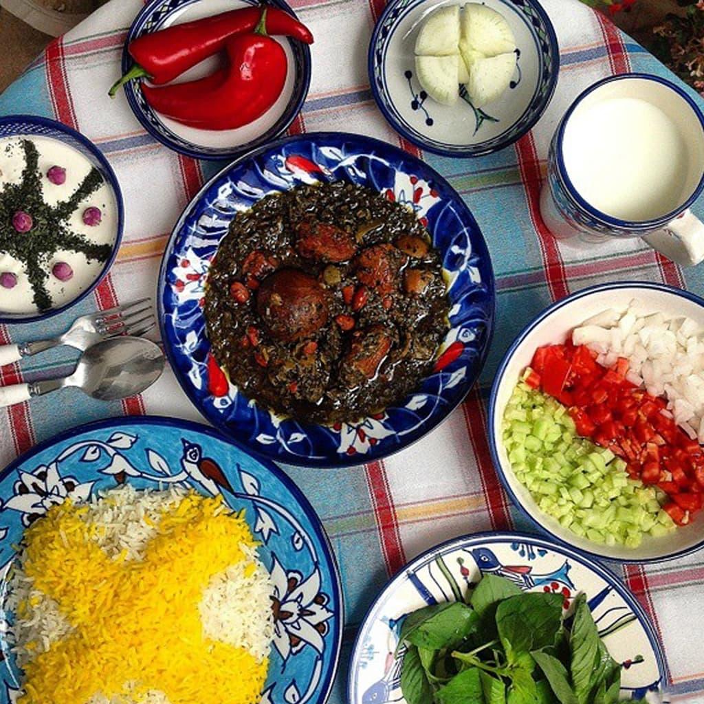 Iranian traditional image of ghormeh sabzi