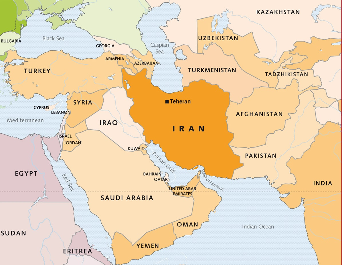 Map of Iran and Surrounding Areas - road ,Religious iran ...