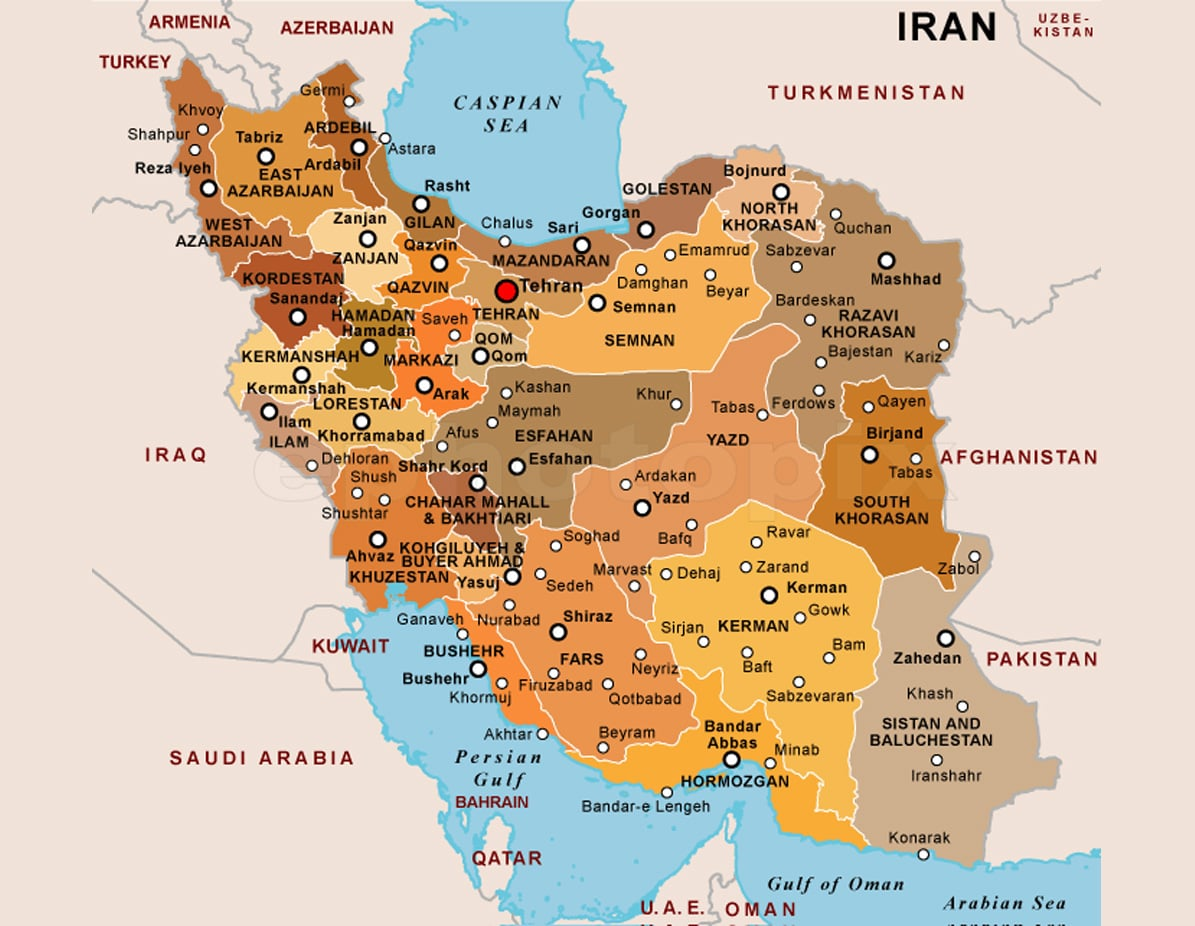 Physical and Political Map of Iran