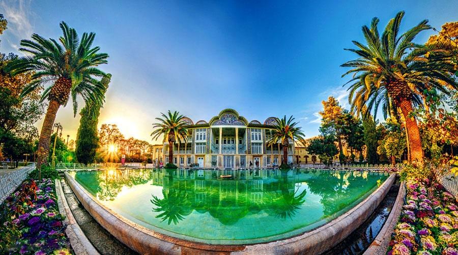 The spectacular scenery of Eram Garden of Shiraz in summer