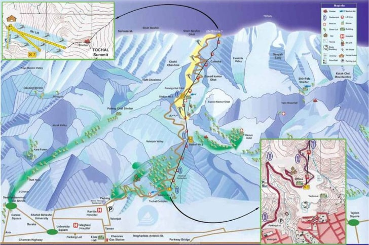 Tochal ski resort map