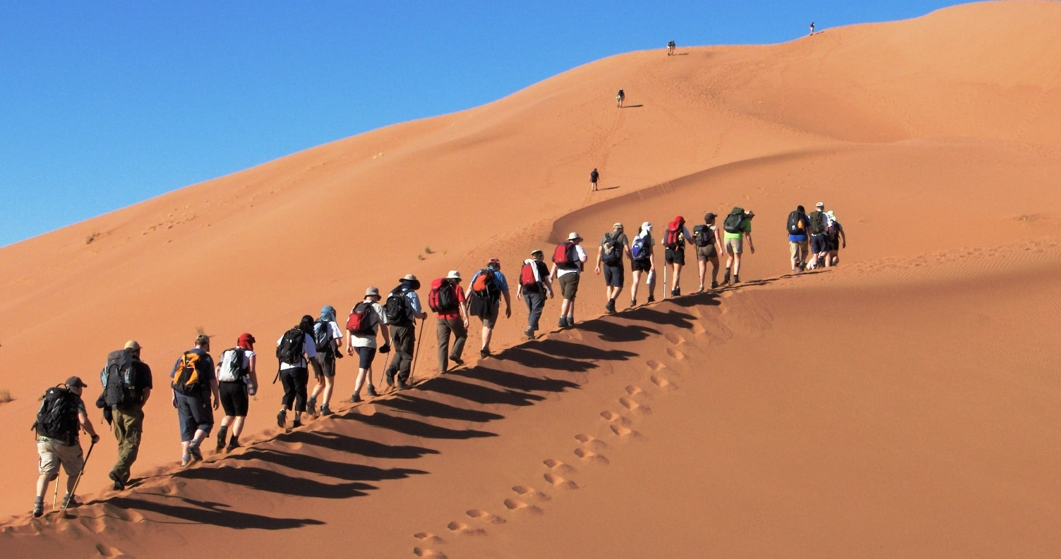 Trekking Tourists in the Sahara