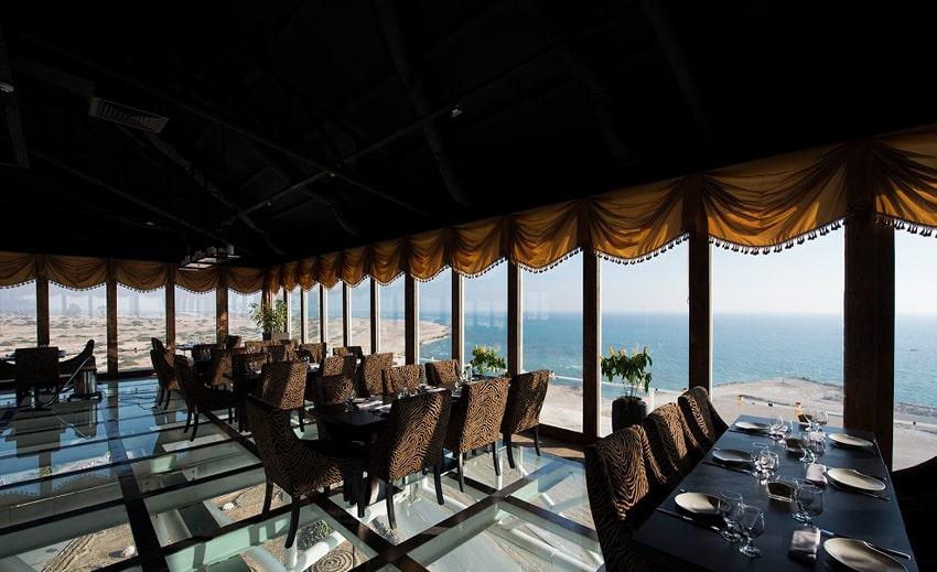 padideh glass floor restaurant in kish island sea sightseeing