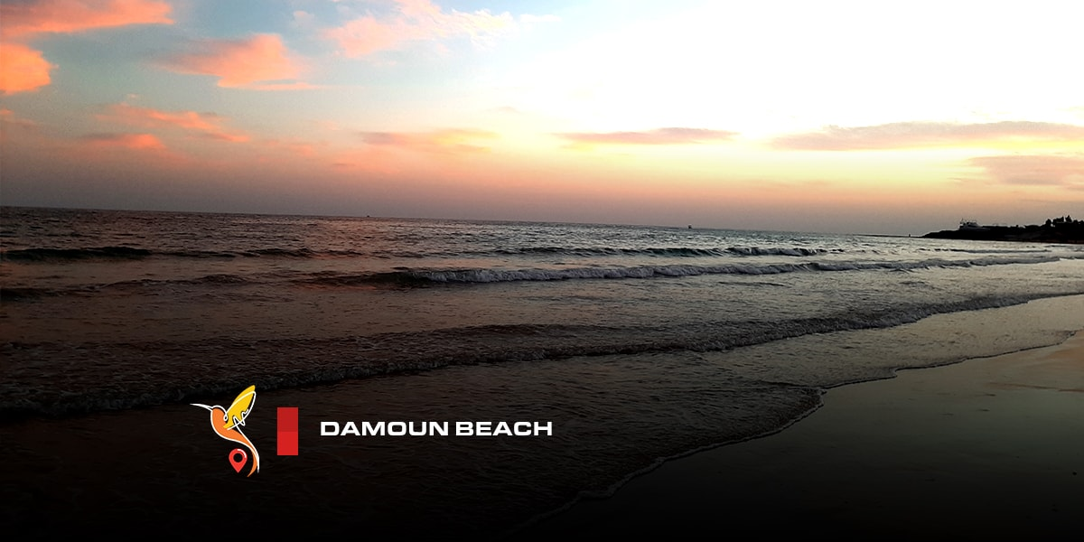Damoun beach in kish island during sunset in the evening