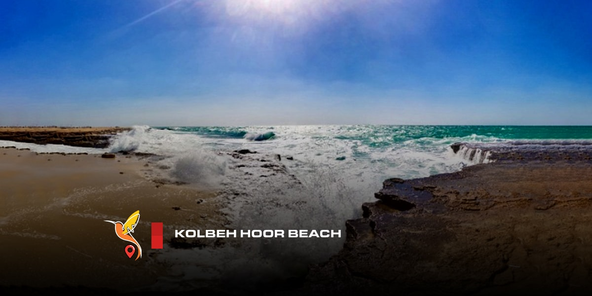 kolbeh hoor beach in a cloudy weather and blue sky