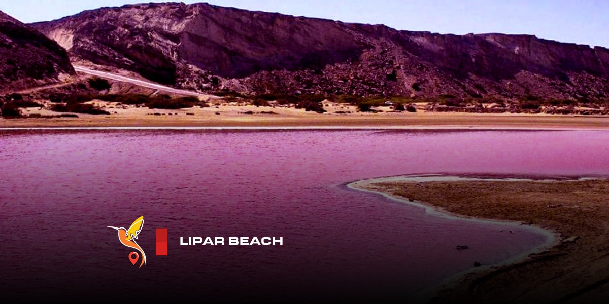 Lipar beach with pink water in chabahar
