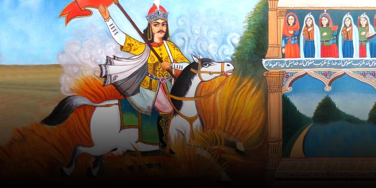 Shahnameh-(Passing-Siavash-through