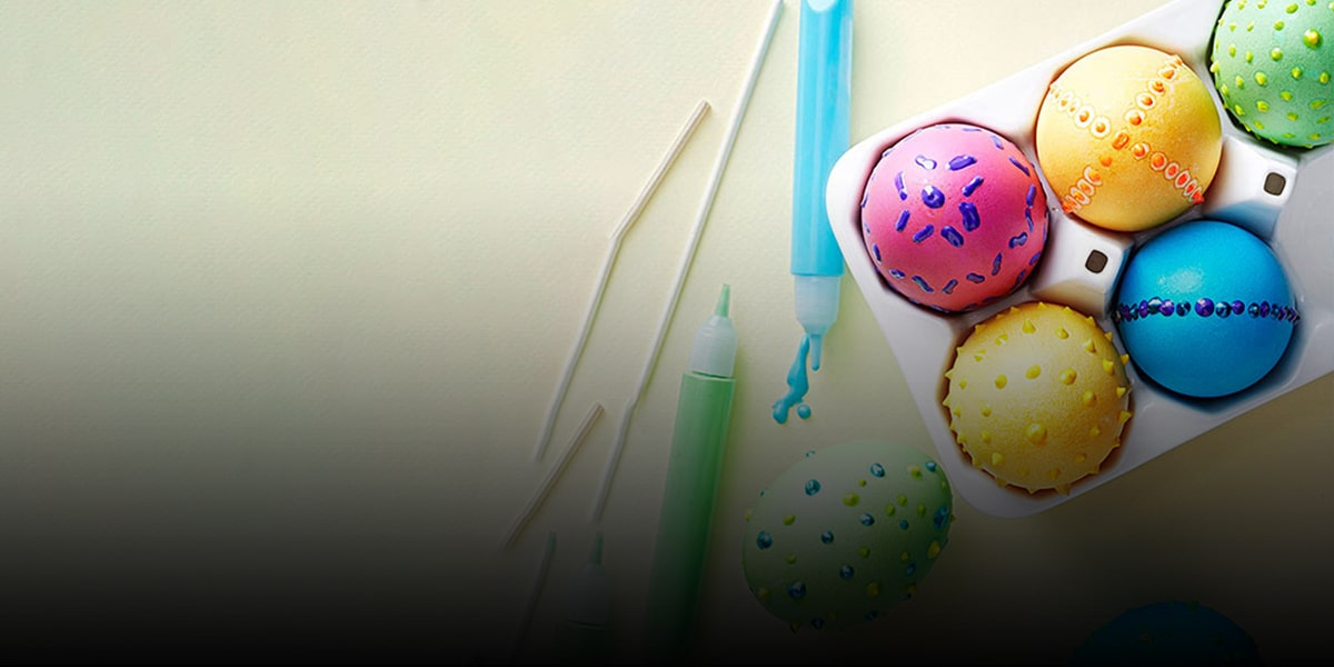 Beautiful colored eggs with useless crayons!